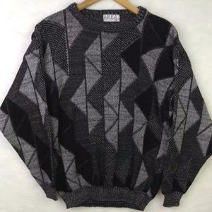VTG 90s Area By Tag Sweater Black Gray Mens Soft